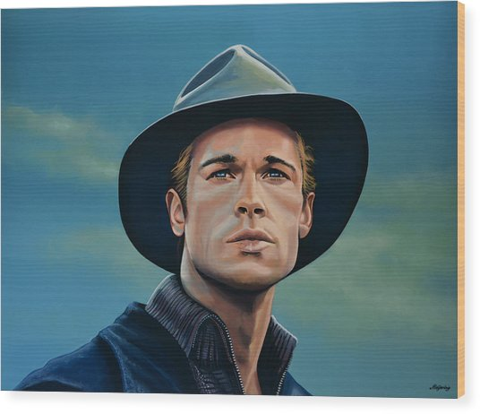 Brad Pitt Painting Wood Print