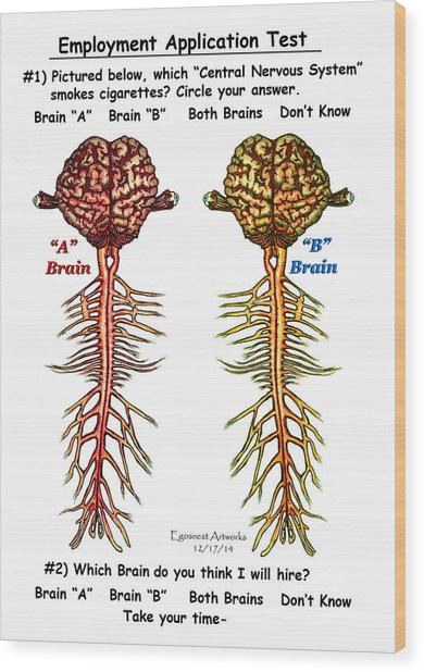 Brain Compared With Smoking Brain Wood Print
