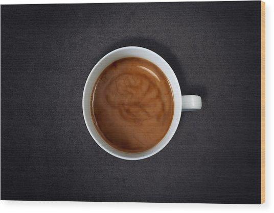 Brain Swirl In A Cup Of Coffee Wood Print by Jan Stromme