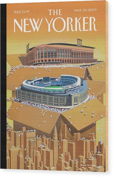 Brand New Yankee's And Met's Stadiums Coming Wood Print