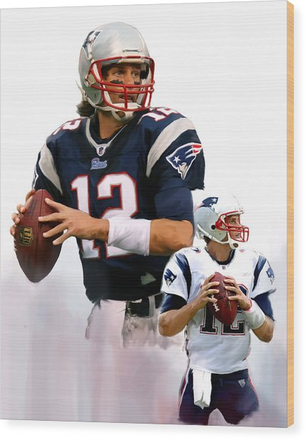 Brady II  Tom Brady Wood Print