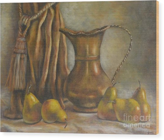 Brass And Pears Wood Print by Jana Baker