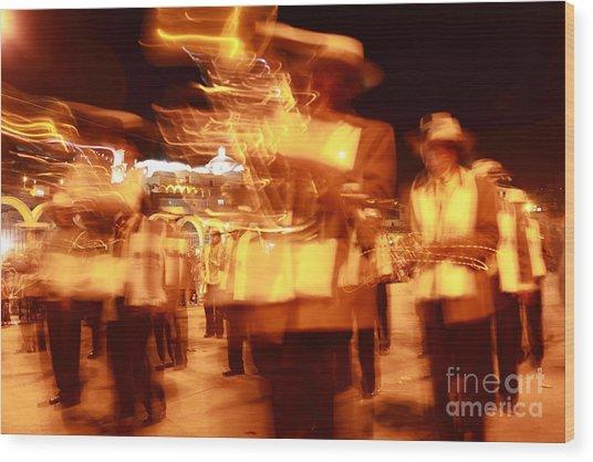 Brass Band At Night Wood Print