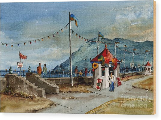 Bray Head And Prom Wicklow Wood Print