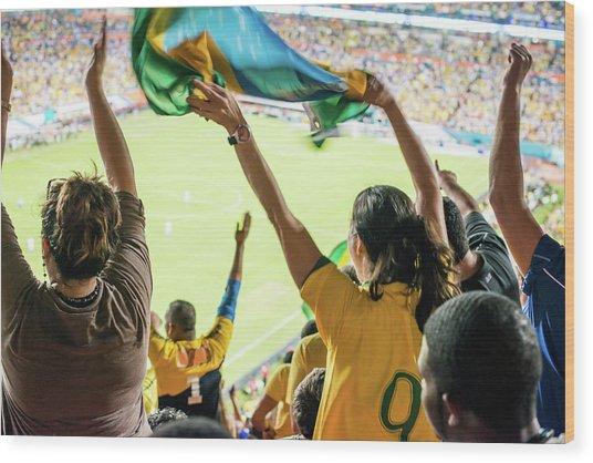 Brazilian Fan Celebrating Goal Wood Print by Ramiro Olaciregui