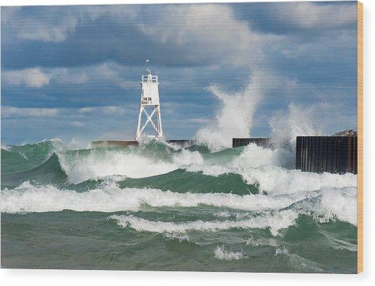 Break Wall Waves Wood Print