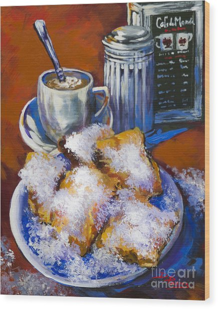 Breakfast At Cafe Du Monde Wood Print