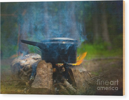 Breakfast Wood Print by The Stone Age