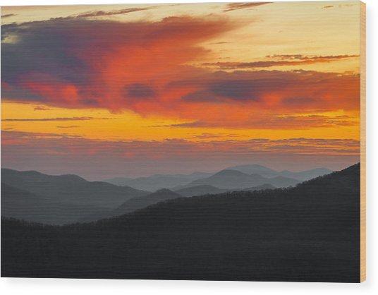 Breathtaking Blue Ridge Sunset Wood Print