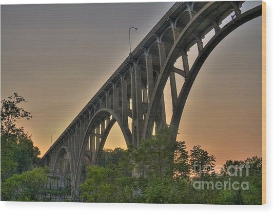 Brecksville Arched Bridge Wood Print