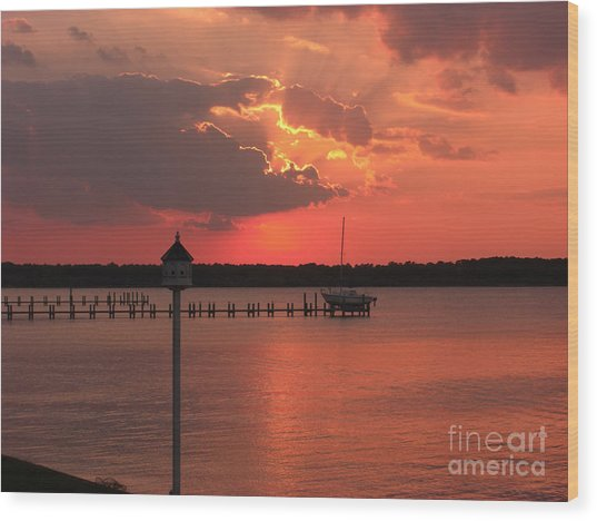 Breton Bay Sunset Wood Print