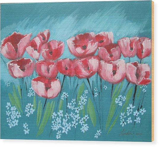 Brezzy Poppies Wood Print