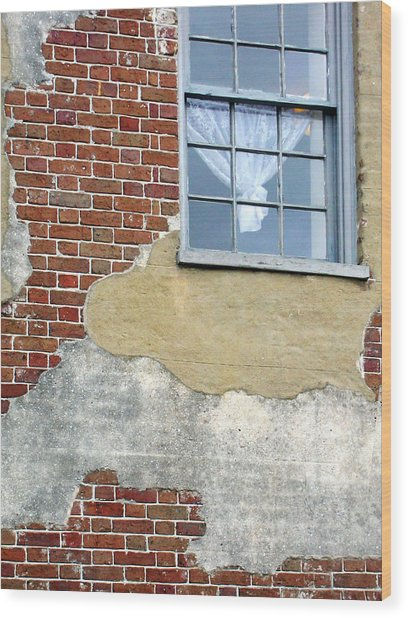 Brick And Mortar Wood Print by Sarah-jane Laubscher