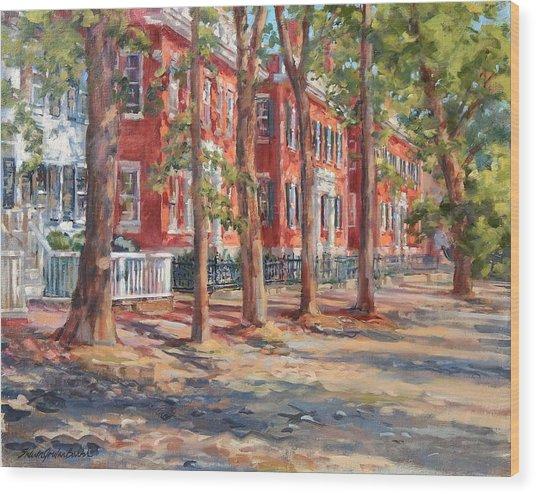 Brick Row Of Nantucket Wood Print by Sharon Jordan Bahosh