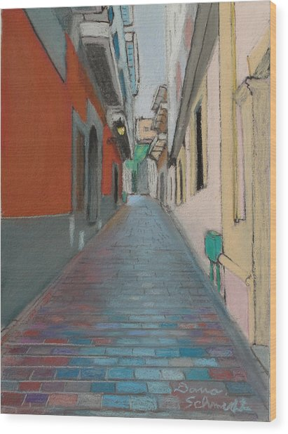 Brick Street In Old San Juan Puerto Rico Wood Print