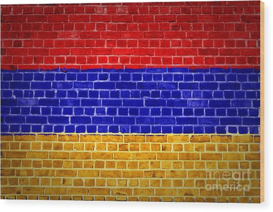 Brick Wall Armenia Wood Print