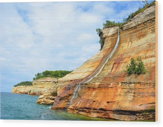 Bridal Veil Falls Pictured Rocks Michigan Wood Print by Forest Floor Photography