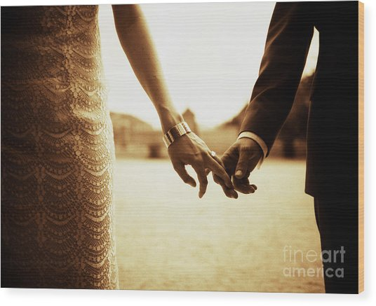 Bride And Groom Holding Hands In Sepia - Analog 35mm Black And White Film Photo Wood Print by Edward Olive