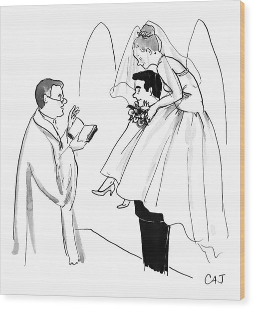 Bride Balances On Bridegroom's Shoulders Wood Print