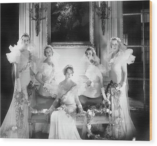 Bridesmaids For The Wedding Of Sir Hugh Houston Wood Print by Cecil Beaton