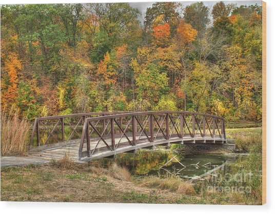 Bridge Amongst Autumn Colors Wood Print