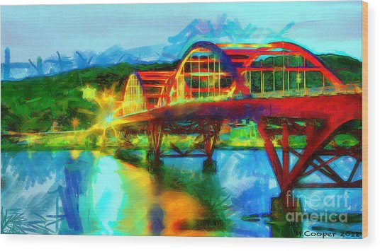 Bridge At Night Wood Print by Max Cooper