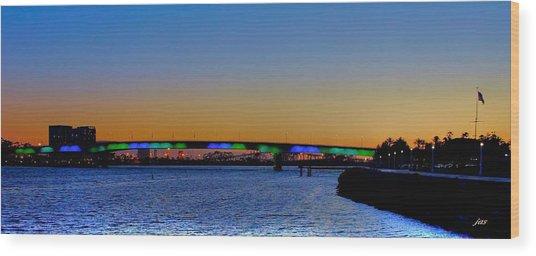 Bridge At Twilight Wood Print