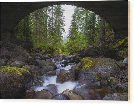 Bridge Below Rainier Wood Print