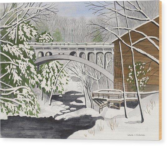 Bridge By The Mill - Mill Creek Park Wood Print