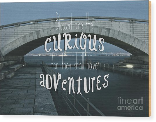 Blessed Are The Curious For They Shall Have Adventures Wood Print