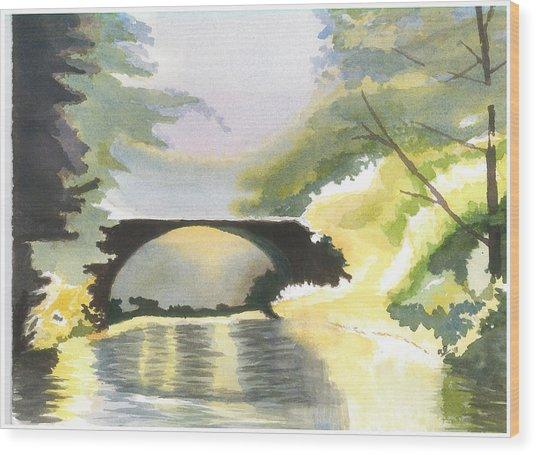 Bridge In Shadows Wood Print
