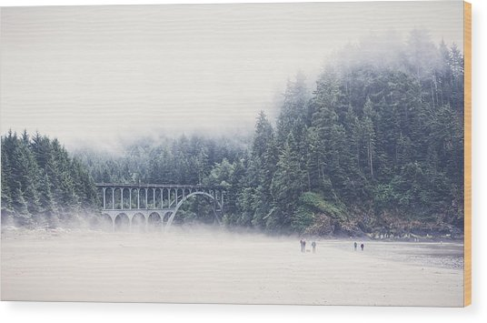 Bridge In The Mist  Wood Print