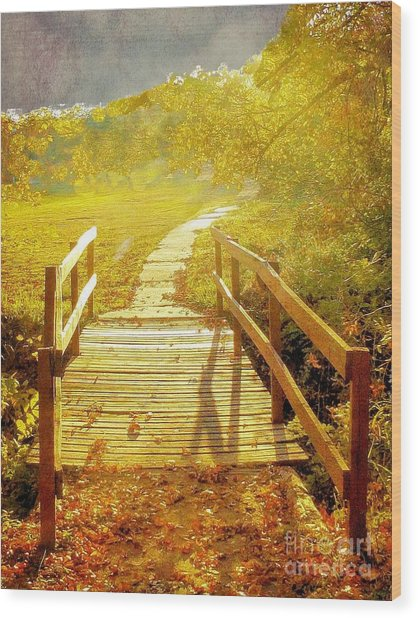 Bridge Into Autumn Wood Print