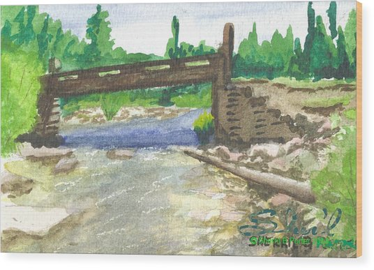 Bridge On The Red Cloud Loop Wood Print
