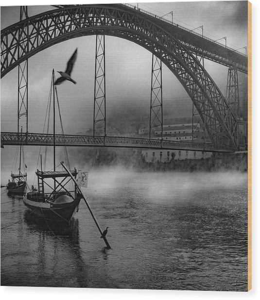 Bridge Over Douro Wood Print by Fernando Jorge Gon?alves
