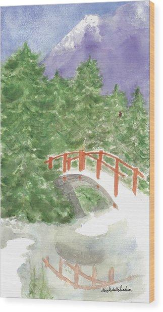 Bridge Over Frozen Water Wood Print