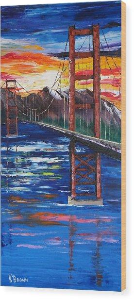 Bridge Over Ocean Wood Print