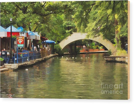 Bridge Over The Riverwalk Wood Print