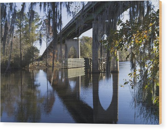Bridge Over The Waccamaw On An Autumn Afternoon Wood Print