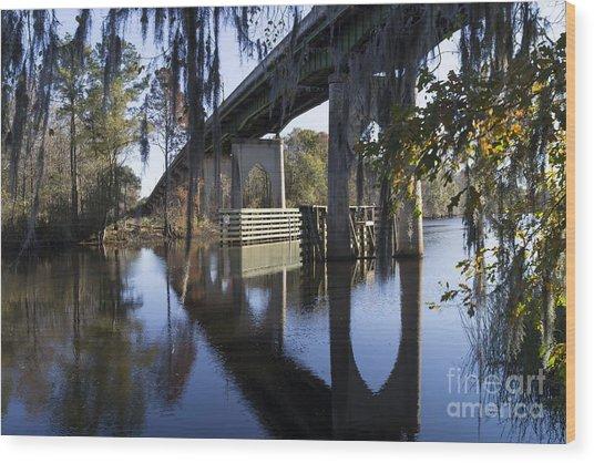 Bridge Over The Waccamaw On An Autumn Afternoon Wood Print