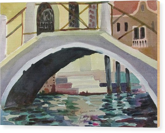 Bridge Reflections Venice Wood Print