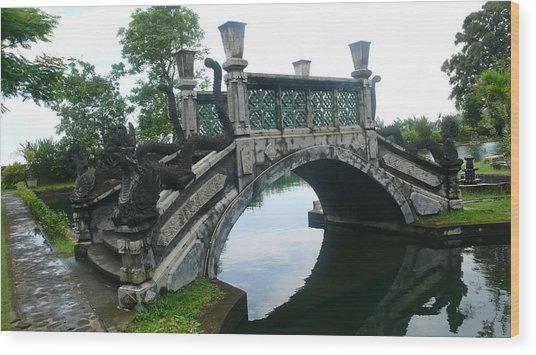 bridge side Bali Wood Print by Jack Edson Adams