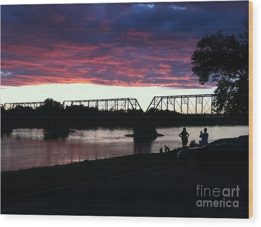 Bridge Sunset In June Wood Print