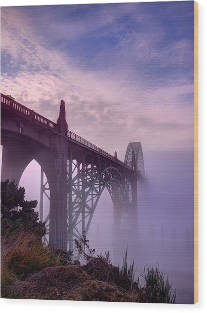 Bridge To Fog Wood Print