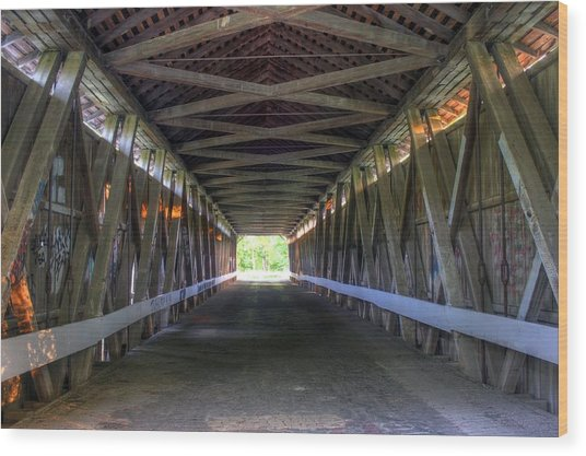 Bridge To Green Wood Print