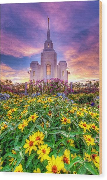 Brigham City Temple Wood Print