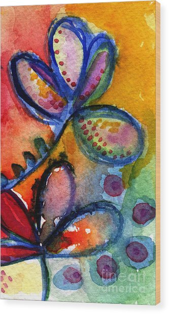 Bright Abstract Flowers Wood Print