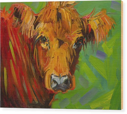 Bright And Beautiful Cow Wood Print