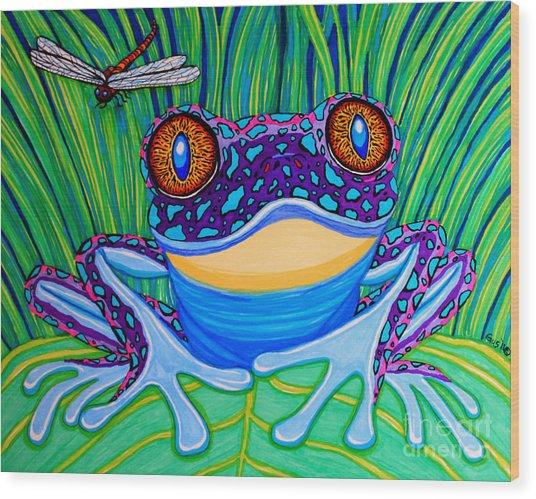 Bright Eyed Frog Wood Print
