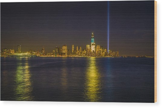 Bright Freedom Tower Wood Print by Chris Halford